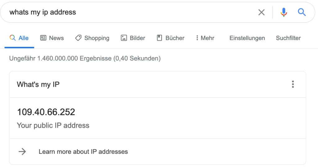 IP Adresse über Google herausfinden